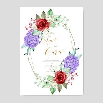 Modèle de carte d'invitation de mariage, aquarelle florale