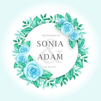 Modèle de carte invitation de mariage avec aquarelle guirlande de fleurs roses bleues