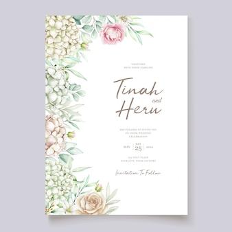 Modèle de carte d'invitation de mariage aquarelle hortensia