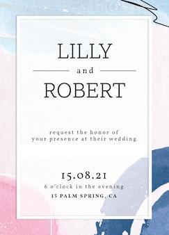 Modèle de carte d'invitation de mariage aquarelle memphis