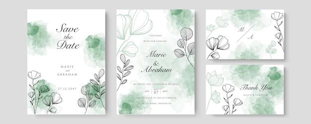Modèle de carte d'invitation de mariage aquarelle or rose serti de décoration florale dorée. abstrait enregistrer la date, invitation, carte de voeux, vecteur polyvalent
