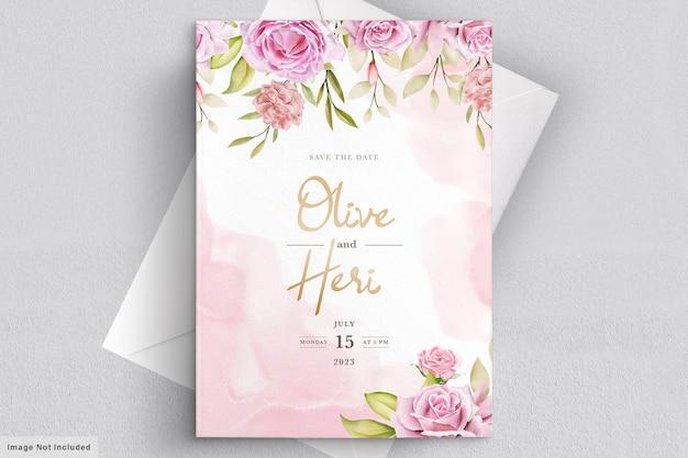 Modèle de carte d & # 39; invitation de mariage aquarelle roses
