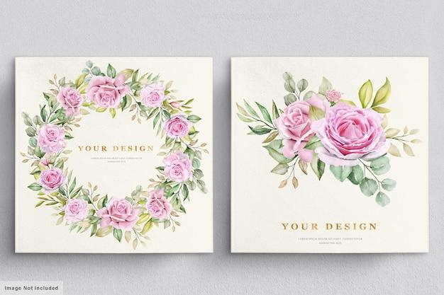 Modèle de carte d'invitation de mariage aquarelle roses