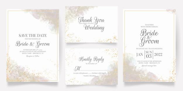 Modèle de carte d'invitation de mariage aquarelle sertie de décoration florale