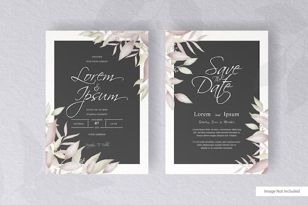 Modèle de carte d & # 39; invitation de mariage aquarelle