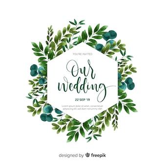 Modèle de carte invitation de mariage aquarelle