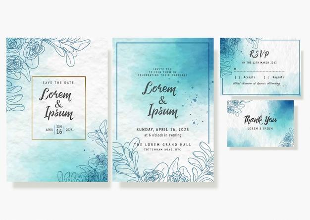 Modèle de carte d'invitation de mariage beau cadre floral aquarelle rsvp vector