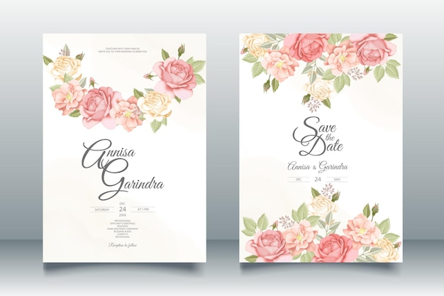 Modèle de carte d'invitation de mariage beau cadre floral vecteur premium