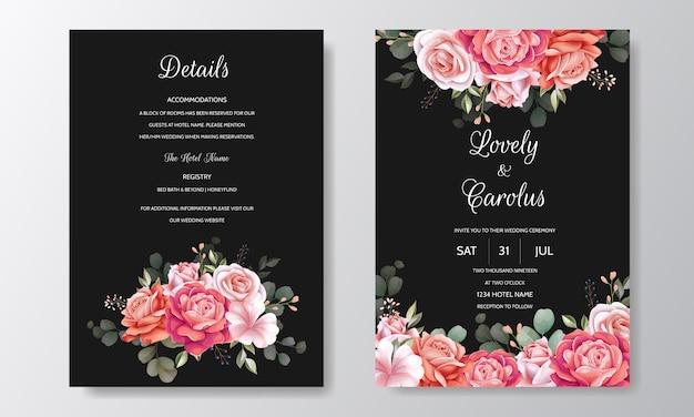 Modèle de carte d'invitation de mariage beau cadre floral