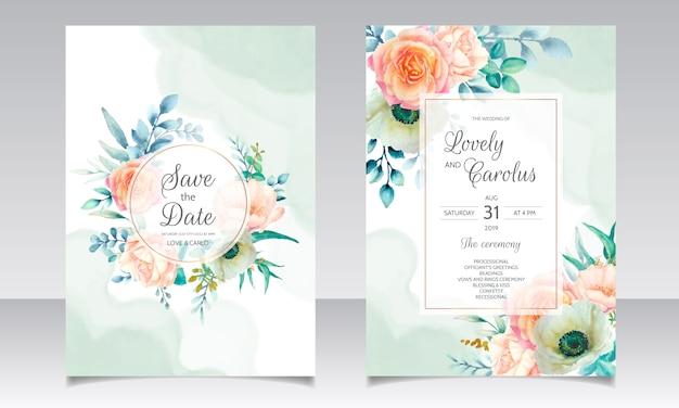 Modèle de carte d'invitation de mariage belle couronne florale aquarelle