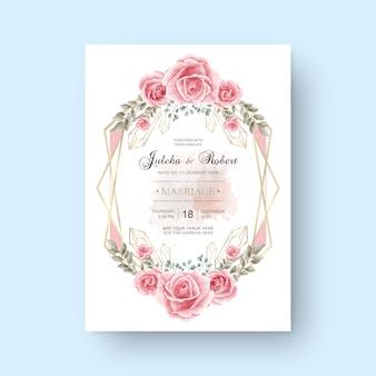 Modèle de carte d'invitation de mariage belle fleur aquarelle