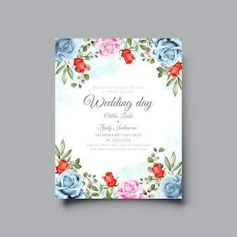 Modèle de carte d & # 39; invitation de mariage avec une belle illustration florale