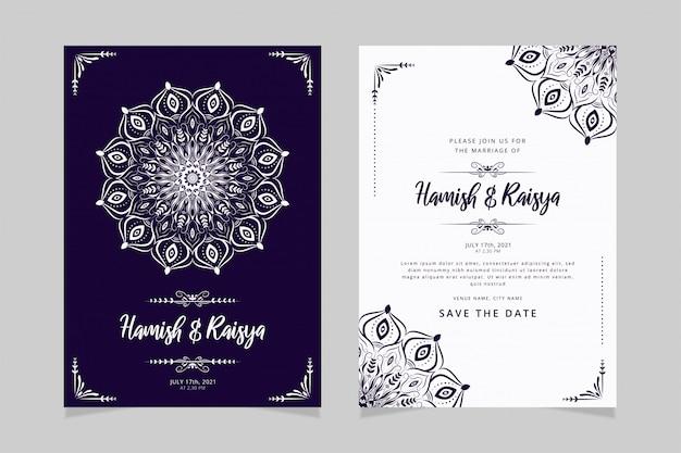 Modèle de carte d'invitation de mariage belle main dessiner