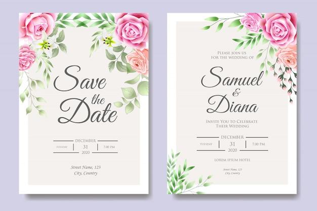 Modèle de carte d'invitation de mariage avec de belles feuilles florales