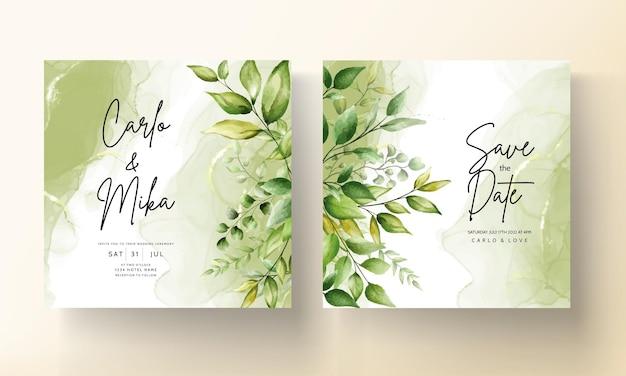 Modèle de carte d'invitation de mariage avec de belles feuilles de verdure sur fond d'encre à l'alcool