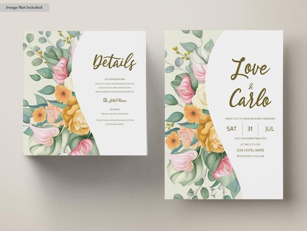 Modèle de carte d'invitation de mariage avec de belles fleurs colorées florales
