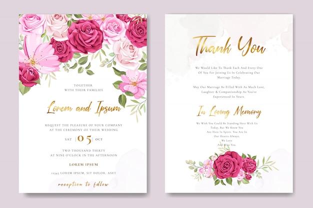 Modèle de carte d'invitation de mariage avec de belles roses roses