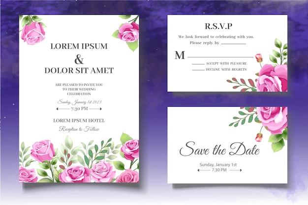 Modèle de carte d'invitation de mariage de belles roses roses