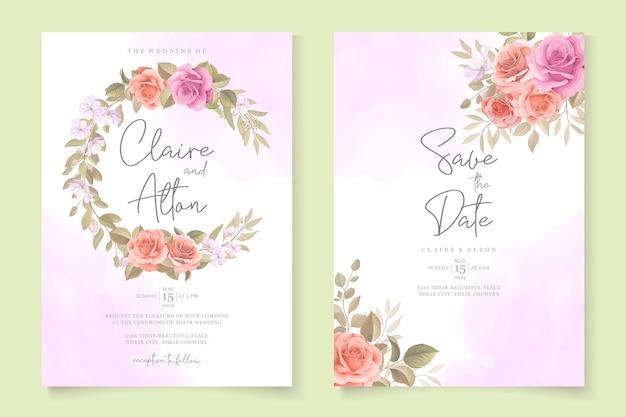 Modèle de carte d & # 39; invitation de mariage de belles roses