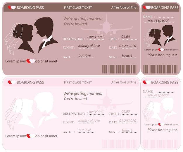 Modèle de carte d'invitation de mariage de billet d'embarquement.