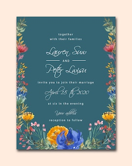 Modèle de carte d'invitation de mariage bleu marine avec aquarelle florale