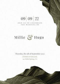 Modèle de carte d'invitation de mariage botanique minimal
