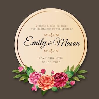 Modèle de carte d'invitation de mariage avec cadre de cercle et fleurs