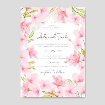 Modèle de carte d'invitation de mariage avec cadre floral de fleurs de cerisier