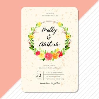Modèle de carte invitation de mariage avec couronne aquarelle de belle fleur