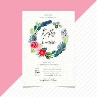 Modèle de carte invitation de mariage avec couronne florale d'aquarelle tropical doux