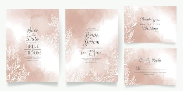 Modèle de carte d'invitation de mariage crémeux aquarelle sertie de fond abstrait