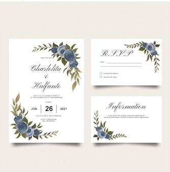 Modèle de carte d'invitation de mariage avec décoration aquarelle rose pourpre