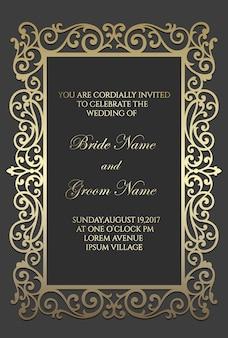Modèle de carte d'invitation de mariage découpé au laser. bordure de cadre ornemental.