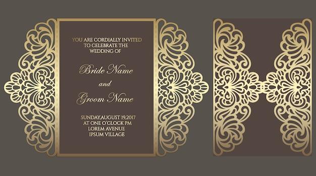 Modèle de carte d'invitation de mariage découpé au laser gate fold. modèle pour la coupe. conception pour gabarit découpé au laser ou découpé. maquette d'invitation de mariage ornemental.