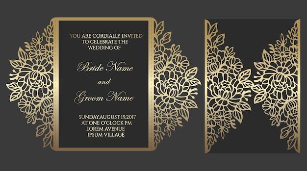 Modèle de carte d'invitation de mariage découpé au laser. modèle pour la coupe. conception pour gabarit découpé au laser ou découpé. maquette d'invitation de mariage ornemental.