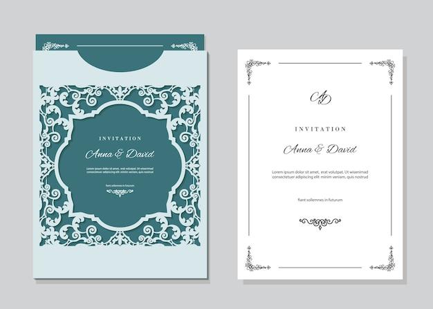 Modèle de carte d'invitation de mariage avec découpe au laser.