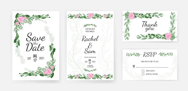 Modèle de carte d'invitation de mariage avec un design floral romantique. réservez la date, avec la famille et merci lettrage avec illustration de vecteur de motif de feuillage de fleur isolé sur fond blanc