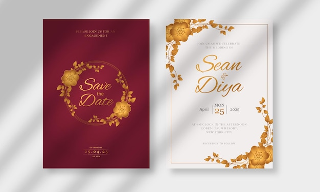 Modèle de carte d'invitation de mariage avec dessin au trait floral