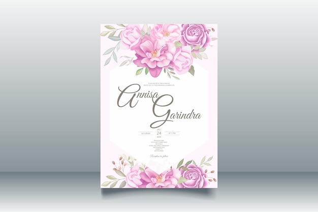 Modèle de carte d'invitation de mariage doux romantique avec de belles feuilles florales vecteur premium