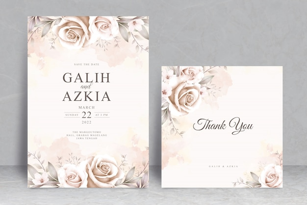 Modèle de carte d'invitation de mariage élégant avec aquarelle florale douce