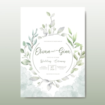 Modèle de carte invitation de mariage élégant avec aquarelle laisse