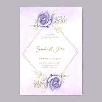 Modèle de carte d'invitation de mariage élégant avec décor de fleurs aquarelles