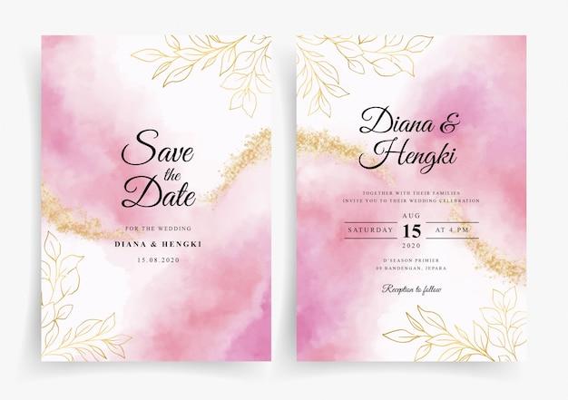 Modèle de carte d'invitation de mariage élégant avec décoration florale dans un style aquarelle