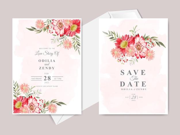 Modèle de carte d'invitation de mariage élégant dessiné main floral