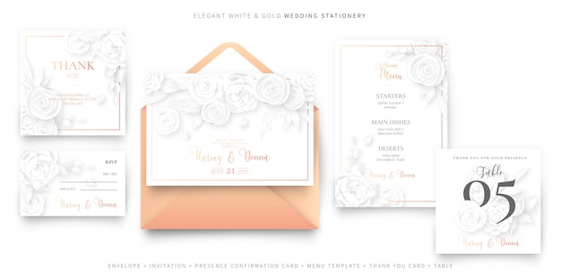 Modèle de carte invitation de mariage élégant avec enveloppe, ensemble de papeterie