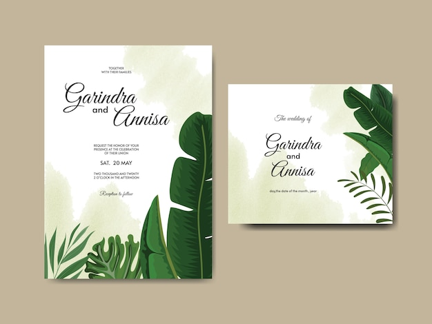 Modèle de carte d'invitation de mariage élégant avec des feuilles tropicales