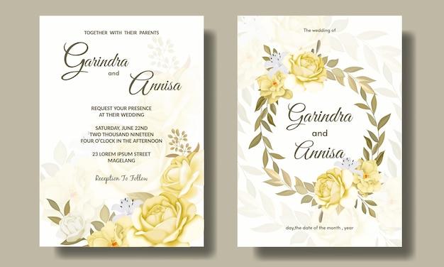 Modèle de carte d'invitation de mariage élégant serti de belles fleurs et feuilles