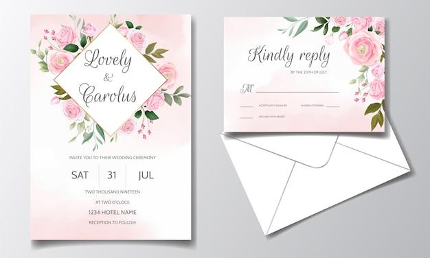 Modèle de carte d'invitation de mariage élégant serti de belles roses roses et de feuilles vertes