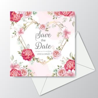 Modèle de carte d'invitation de mariage élégant serti de décoration florale