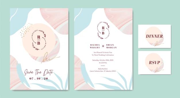 Modèle de carte d'invitation de mariage élégant avec un trait de pinceau abstrait façonne le marbre